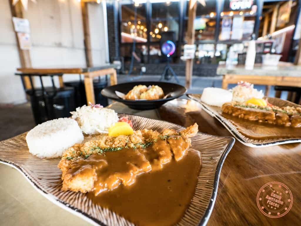 original katsu at with cheese crabmeat croquette behind katsuya in north york