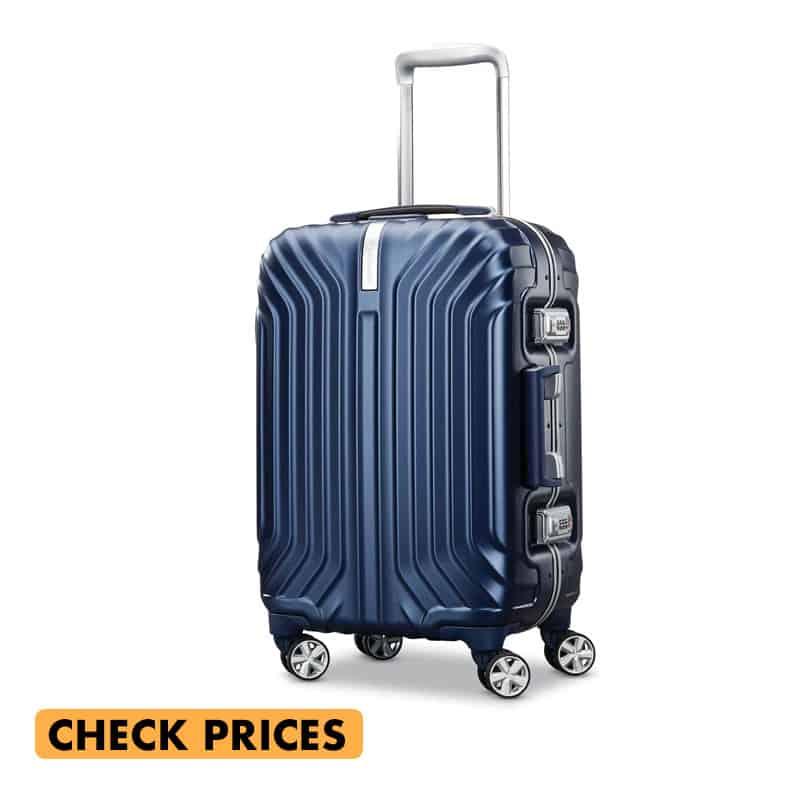 samsonite tru frame carry on spinner suitcase in navy