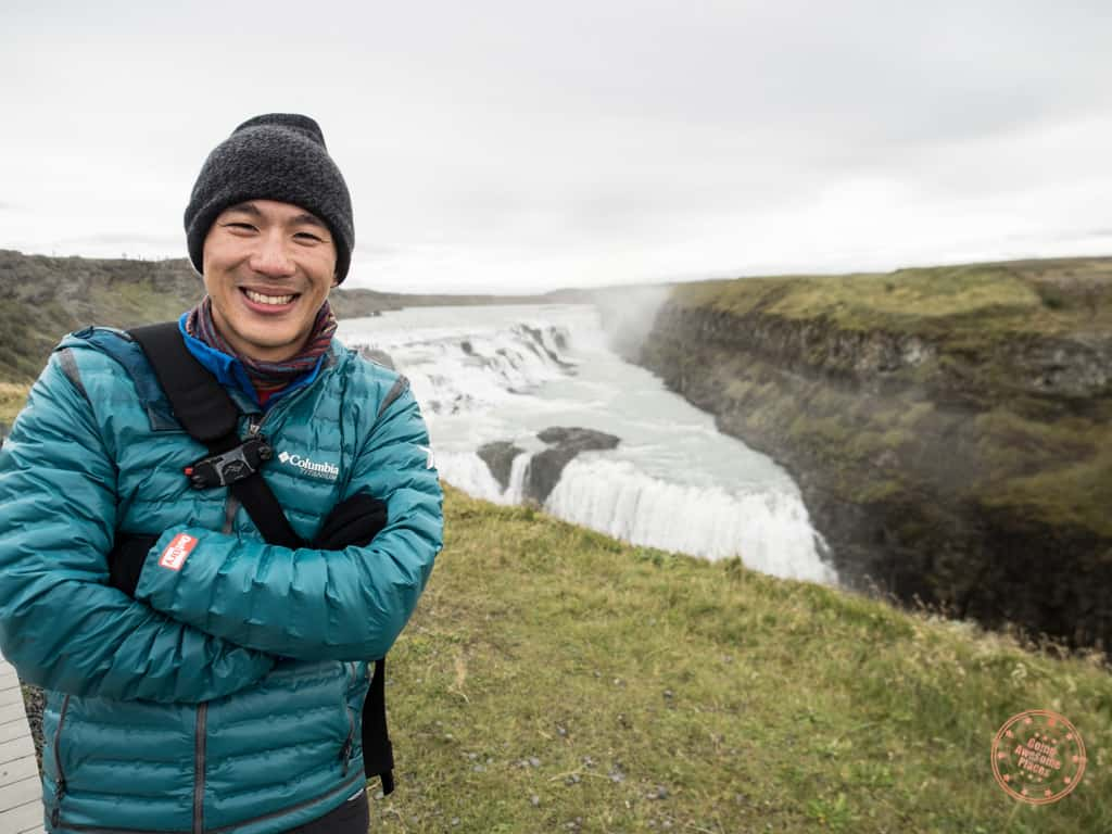 what to wear in iceland in front of gulfoss waterfall
