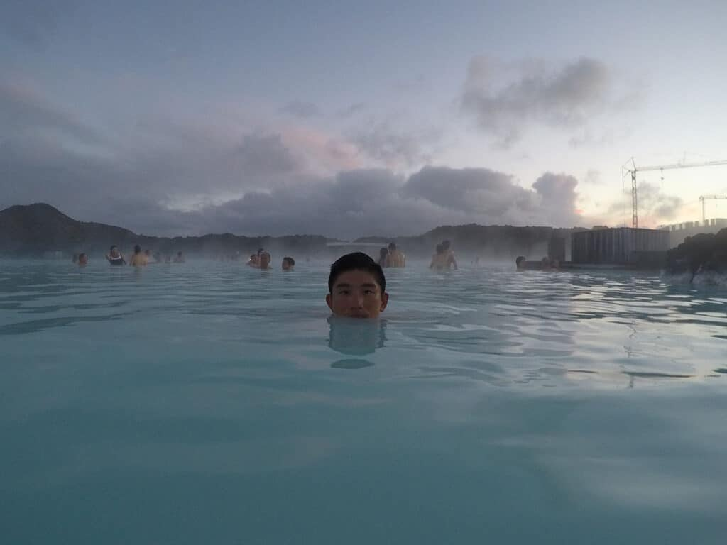 blue lagoon hot springs pool after using mud mask skincare