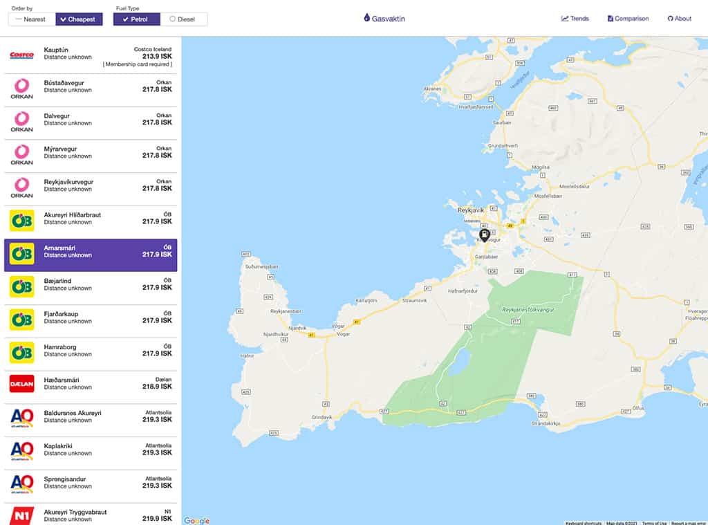 gasvaktin iceland gas station price app