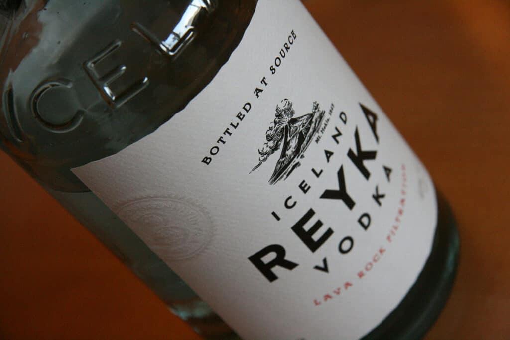 iceland reyka vodka bottle close up