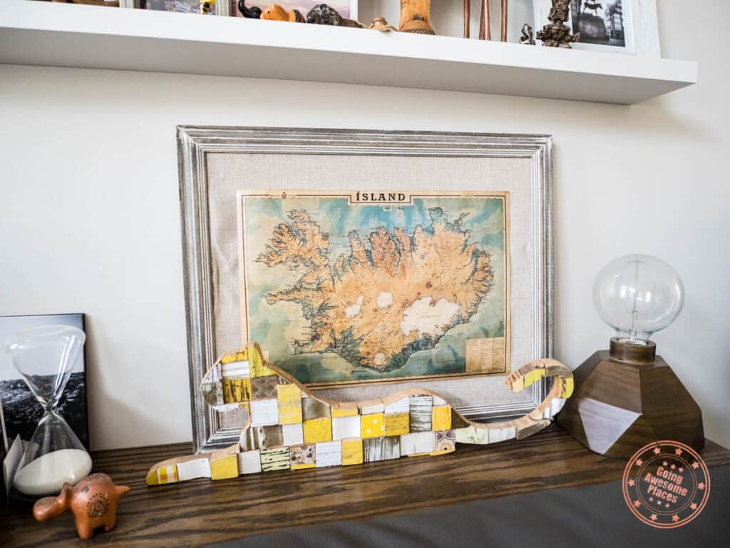 iceland souvenir map displayed at home